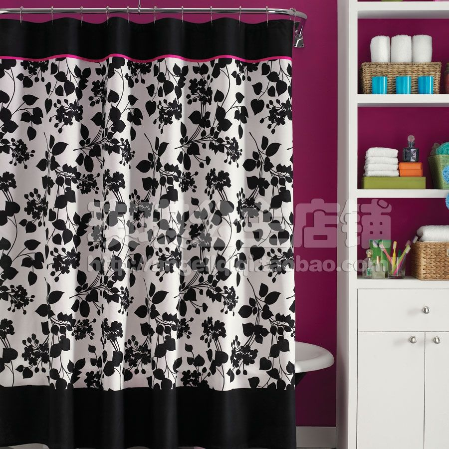 Pink And Black Shower Curtains With Images Pink Shower