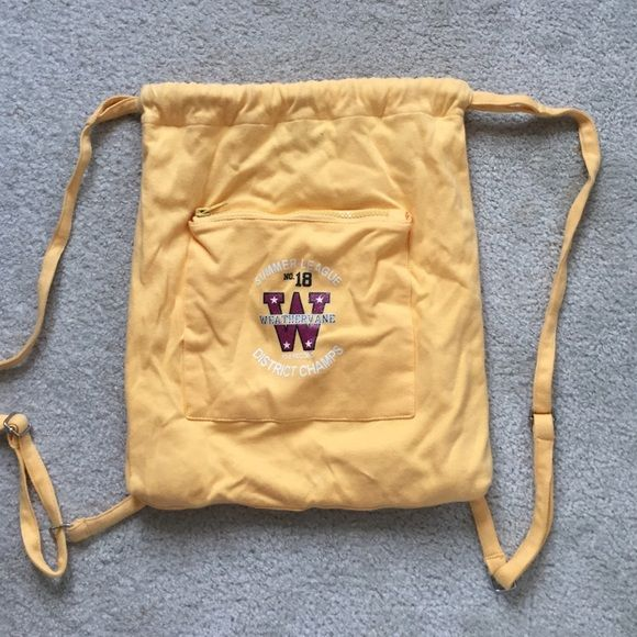 Weathervane drawstring backpack Yellow drawstring backpack. 14.5 x 12 inches. Never used. Bags Backpacks