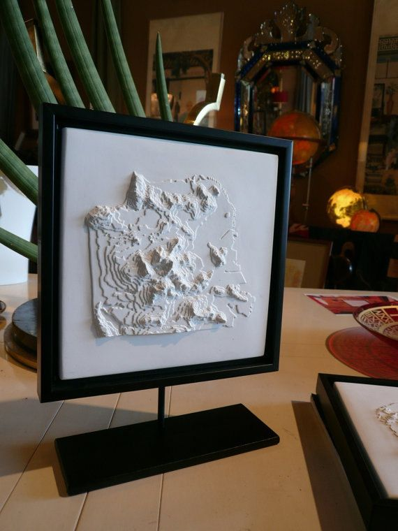 3d Topo Map of San Francisco 105 x 105 Framed Wall Art