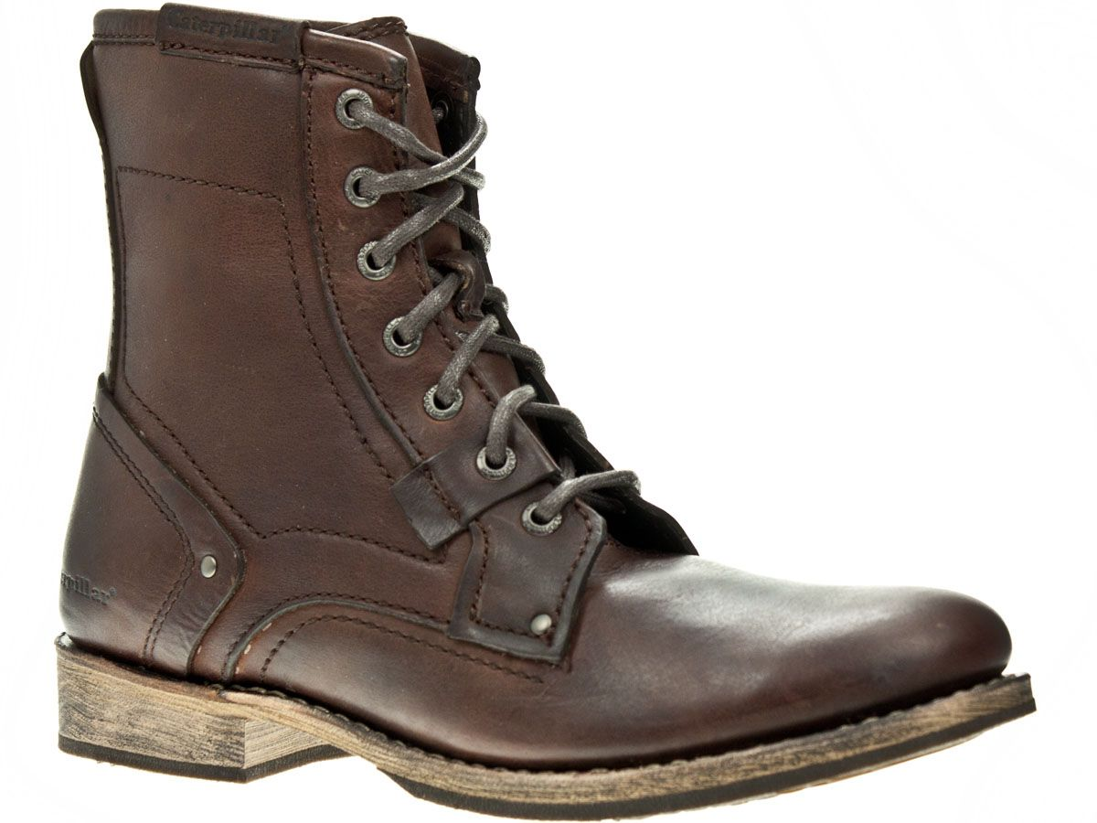 Details about Caterpillar Abe Brown Leather Mens Ankle Boots ...