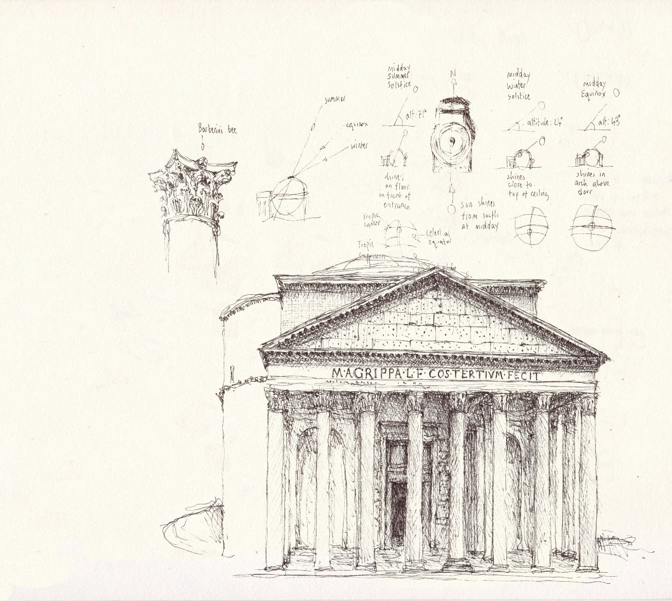 One of my favorite buildings in Rome drawn by one of my talented friends in Civita Castellana.