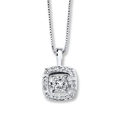 Diamonds In Rhythm 1 3 Ct Tw Necklace 10k White Gold White Gold Kay Diamonds White Gold Pendants