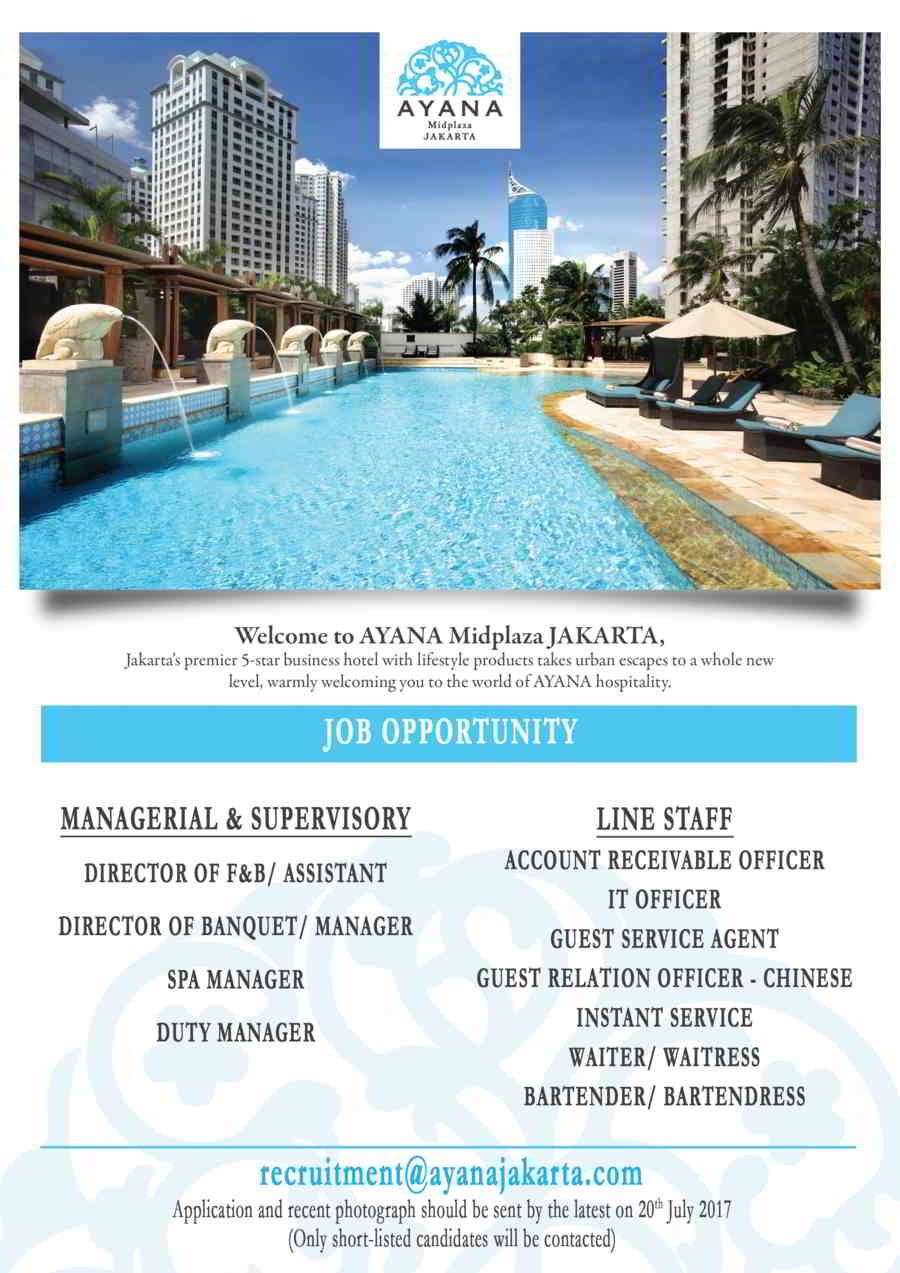 Job Opportunity Ayana Midplaza Jakarta July 2017 Inggris