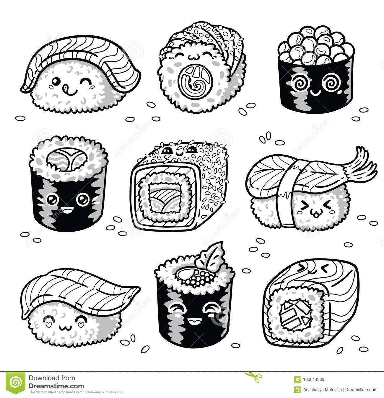 disegni kawaii da colorare sushi