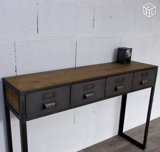 console d 39 entr e avec anciens tiroirs industriels meubles relook s pinterest console. Black Bedroom Furniture Sets. Home Design Ideas