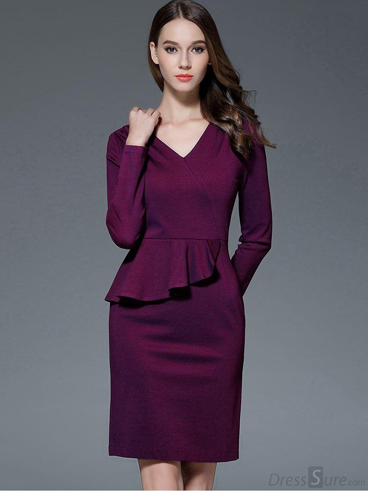 6a5b808a159 NEM065 Long sleeve peplum dress Deep V neck sexy lace dress plus size  elegant wear to work bodycon dress hot Women midi dress