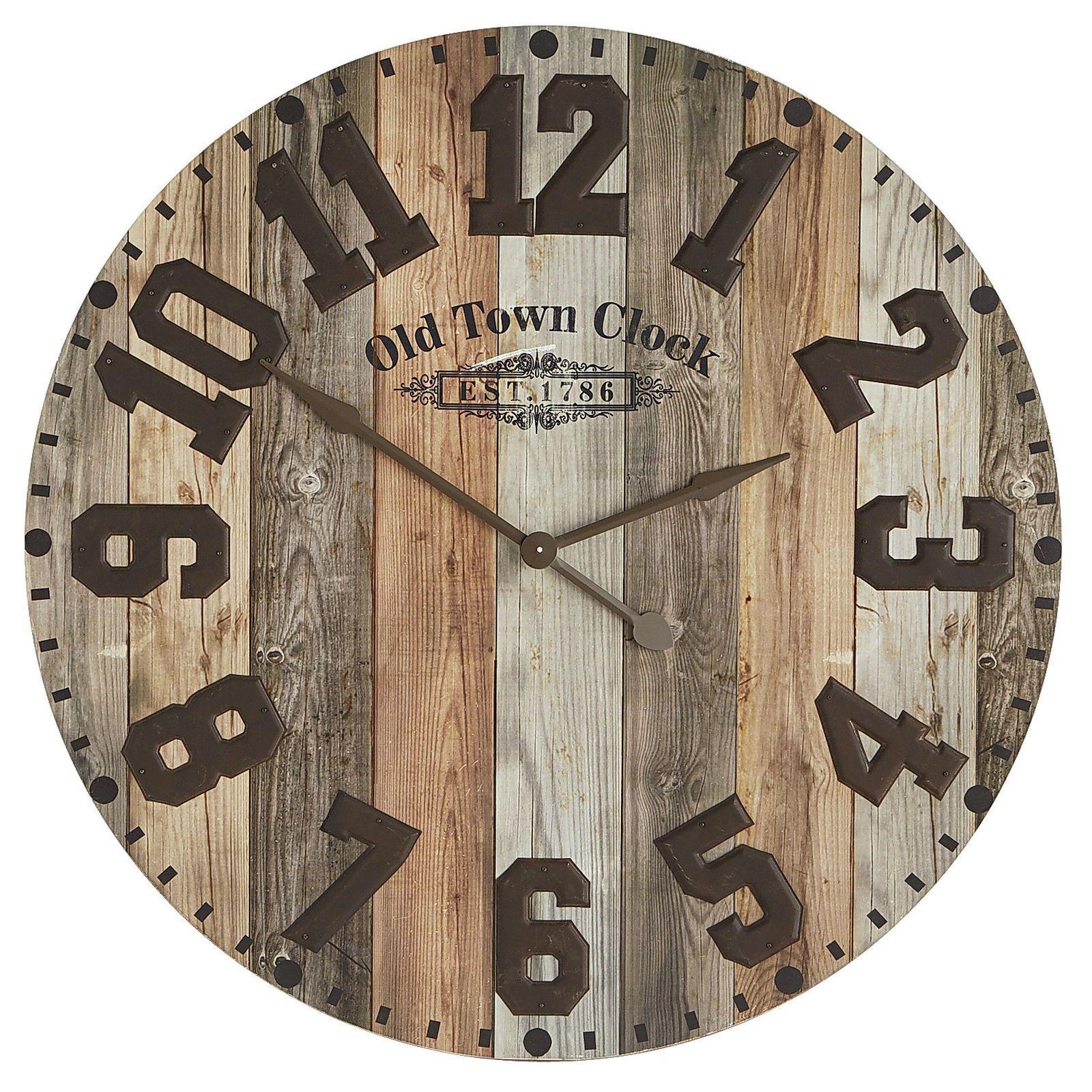 oversize industrial wood iron wall clock rustic wall on wall clocks id=64808