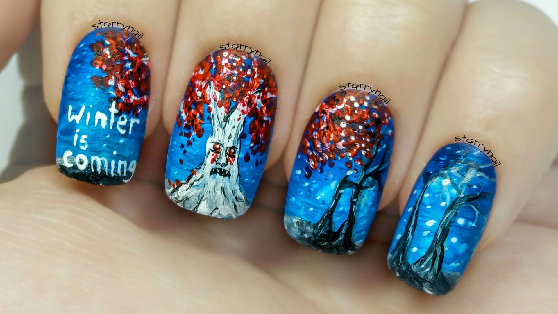 Weirwood Tree - Game of Thrones [Freehand Nail Art Tutorial] | Nail ...