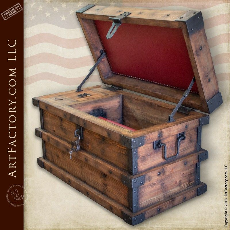 Strong Box Pirates Chest With Lock Box Hidden Compartment Chests Diy Easy Woodworking Ideas Rustic Wood Box