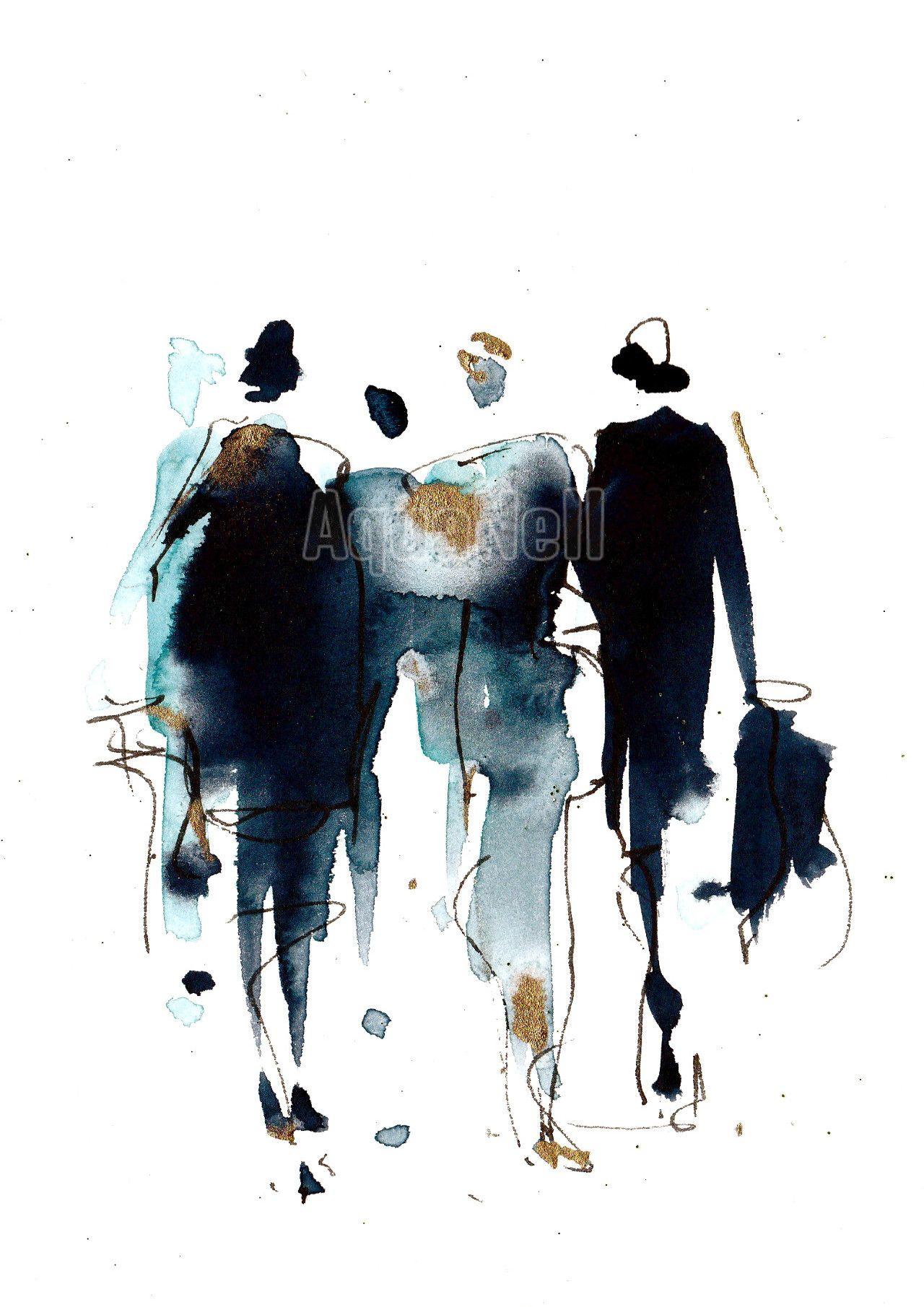 Peinture Illustration Aquarelle Pour D Coration Murale Fashion Aquarelle Pinterest
