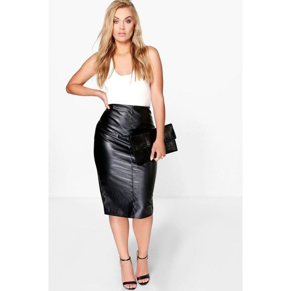 Boohoo Plus Plus Phoebe PU Midi Skirt ($20) ❤ liked on Polyvore featuring skirts, black, pin skirt, mid calf skirts, embellished skirts, evening skirts and holiday skirts