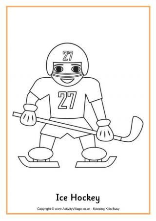 Ice Hockey Colouring Page | Zimné športy | Pinterest