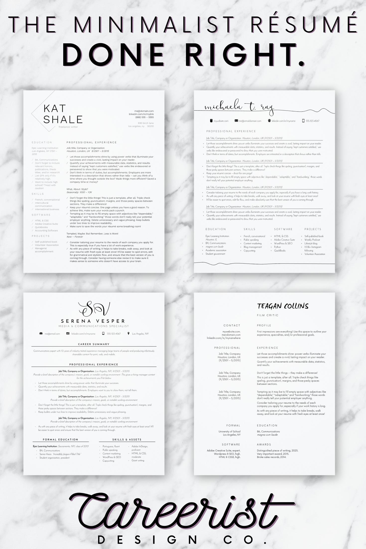 Modern Minimalist Resume Templates From Careerist Design Co On