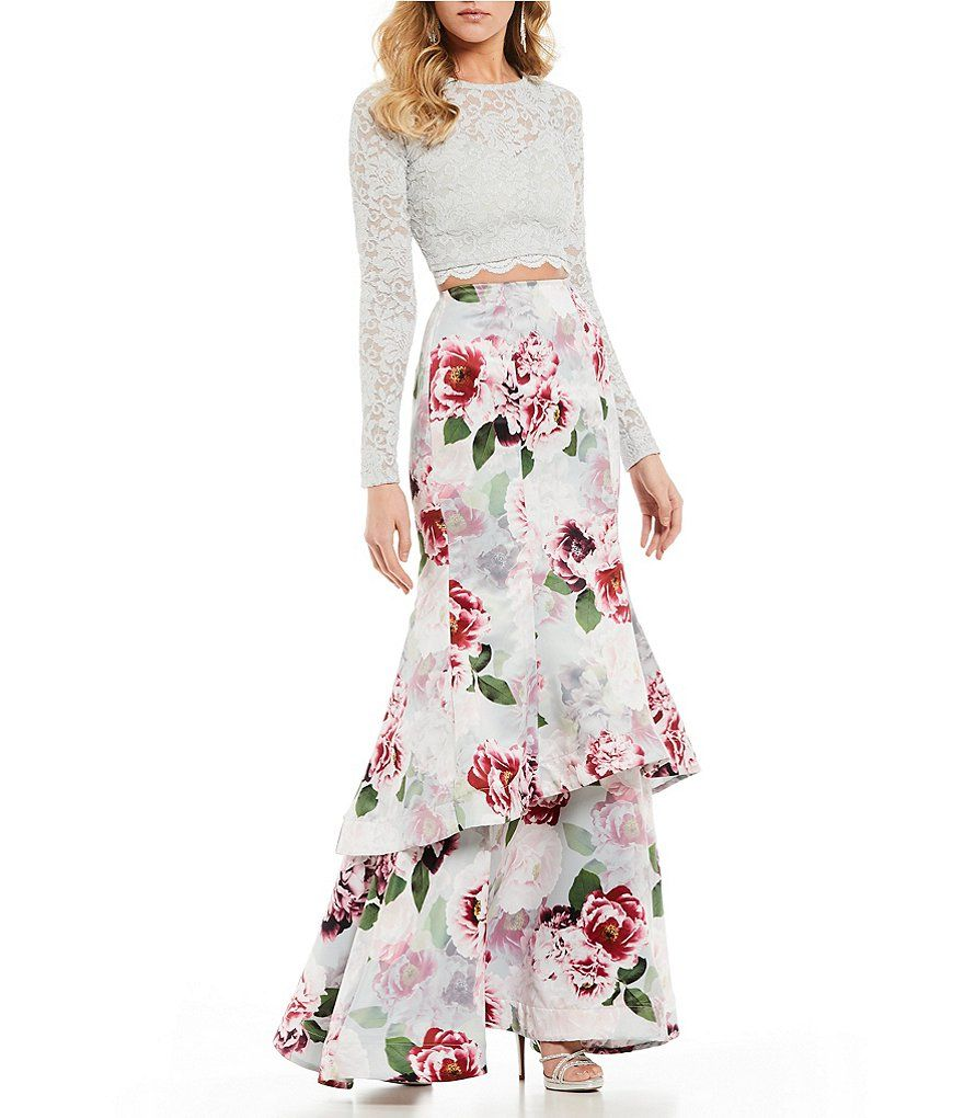c6c3d8c1a9 Sequin Hearts Long Sleeve Lace with Floral Trumpet Skirt Two-Piece Dress