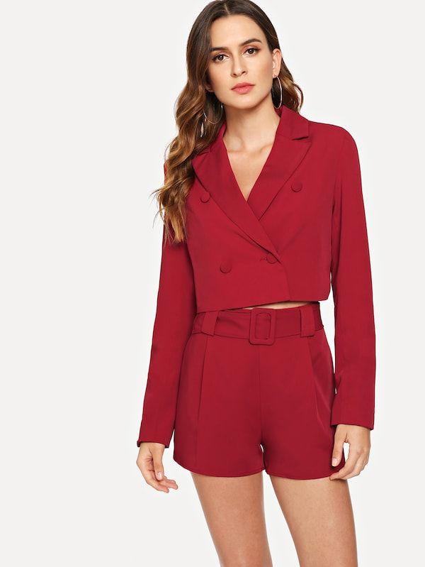c8269eb45df Double Button Crop Blazer -SheIn(Sheinside)   outfit set in 2019