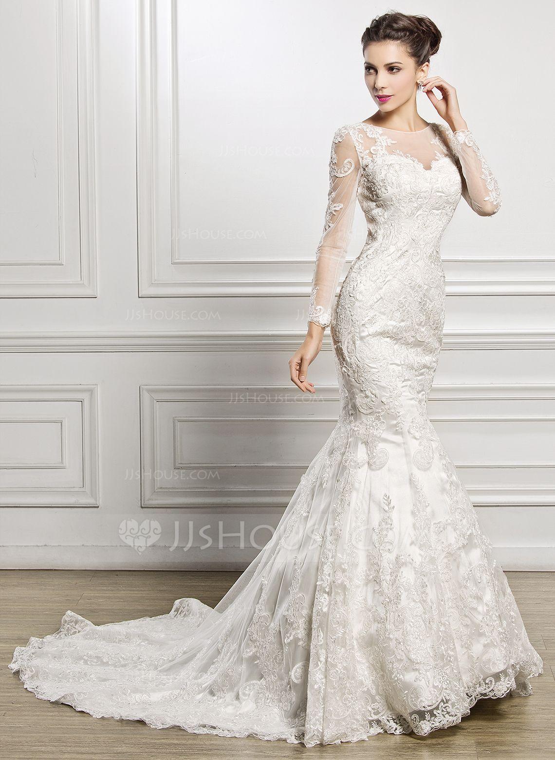 Trumpetmermaid scoop neck chapel train tulle lace wedding dress