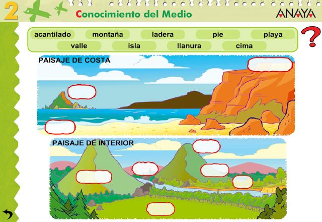 En este enlace encontramos diferentes juegos, para diferenciar los elementos de los paisajes.