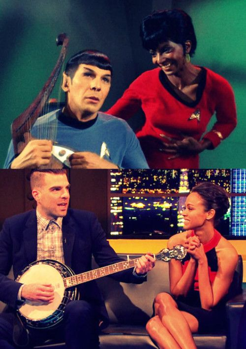 Spock plays harp  & Zach Quinto  the Spock on Star Trek New Generations plays Banjo     This Really Happened  Do you think they do this on purpose?!  DID ANYONE ELSE SEE THIS??????? Zach Quinto, Zoe Saldana, Spock, Uhura, Into Darkness, Star Trek, spock x uhura, Perfection.