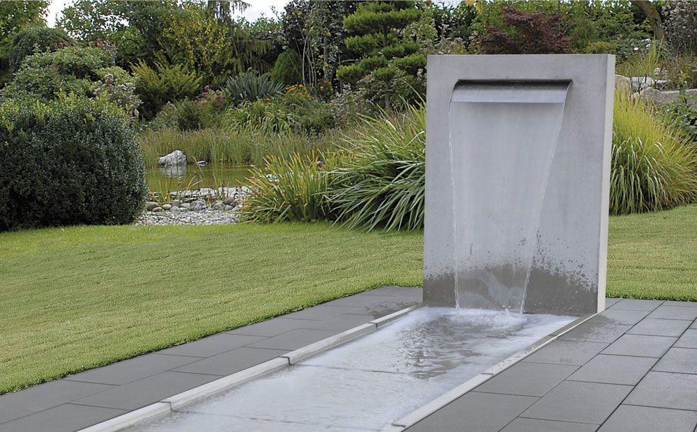 METTEN Brunnen, Wasserspiele Wasserfall-Stele Sichtbeton grau - wasserwand selber bauen garten