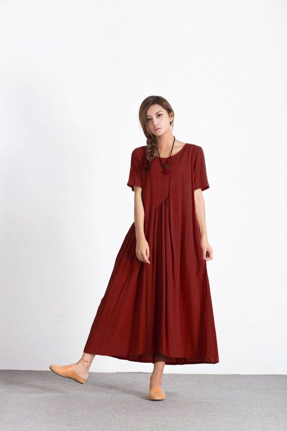 2cbe09f88c4 Women s linen maxi dress asymmetry cotton linen kaftan oversize bridesmaid  dress large size dress pl