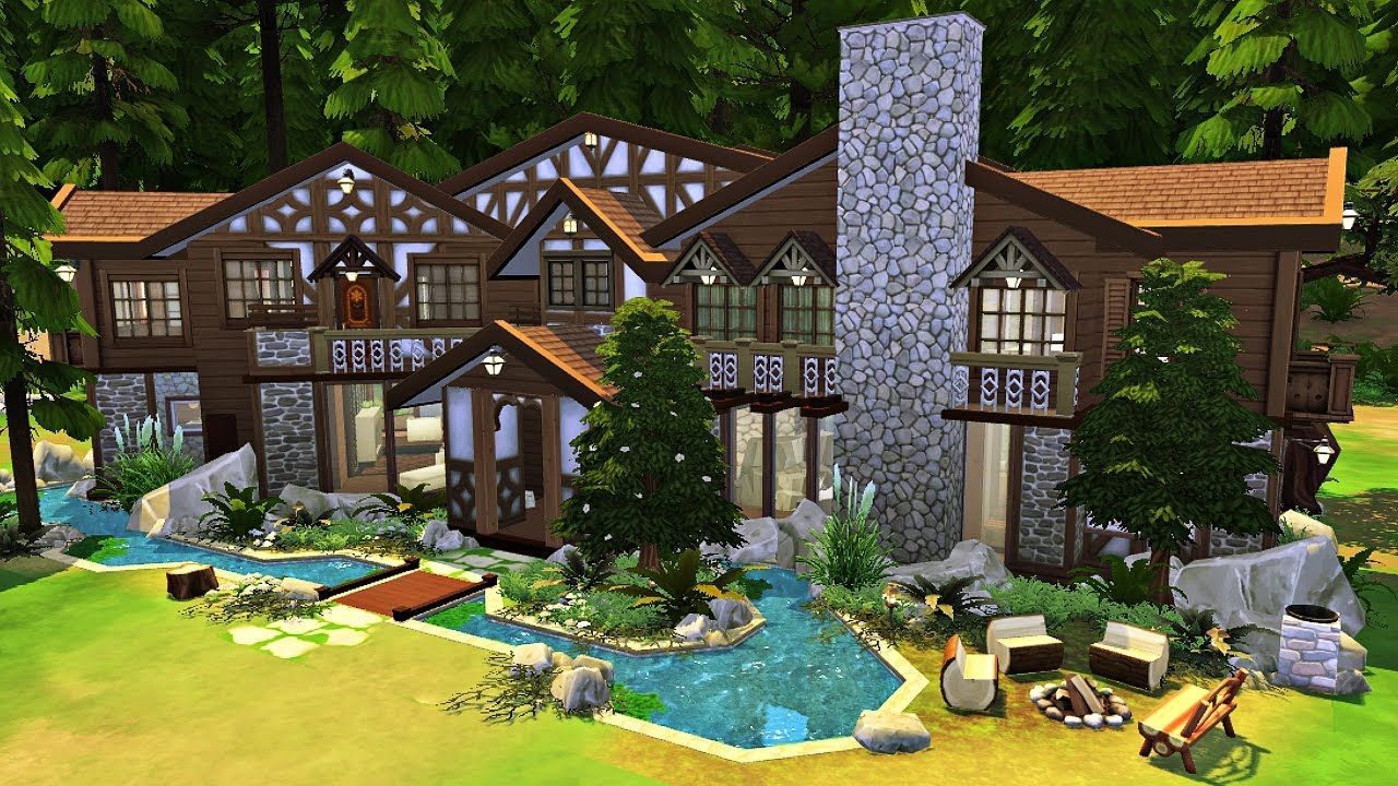 The Sims 4 River Lodge Spa Speed Build Fall Cottage Sims House River Lodge