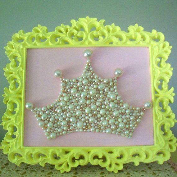Pearl Princess Crown Art. Large Mosaic wall art. Pastel