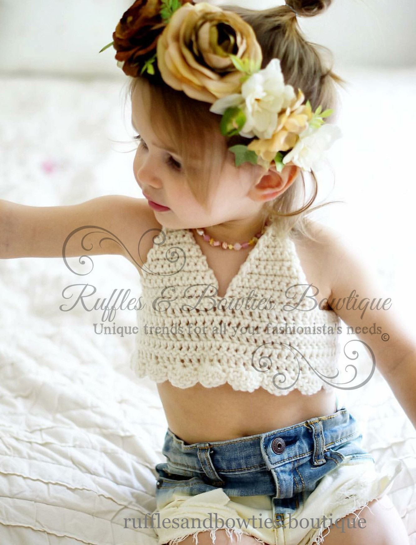 Girls boho scalloped edge crochet bikini top by RufflesBowtique ...