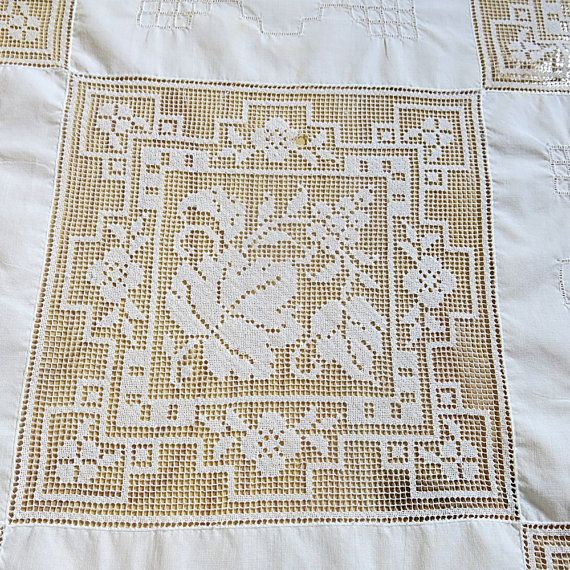 Army Navy Filet Lace Embroidered Tablecloth Patchwork Rectangle 1970s 80s…