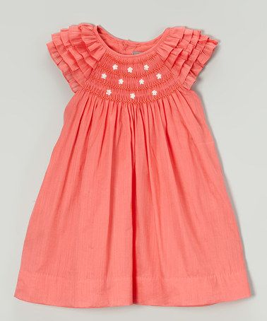 This Orange Daisy Smocked Angel-Sleeve Dress - Infant & Toddler is perfect! #zulilyfinds