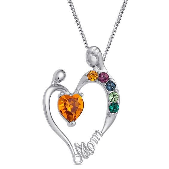 Zales Mothers Simulated Birthstone and Diamond Accent Slider Charm Heart Pendant in Sterling Silver (1-6 Stones)