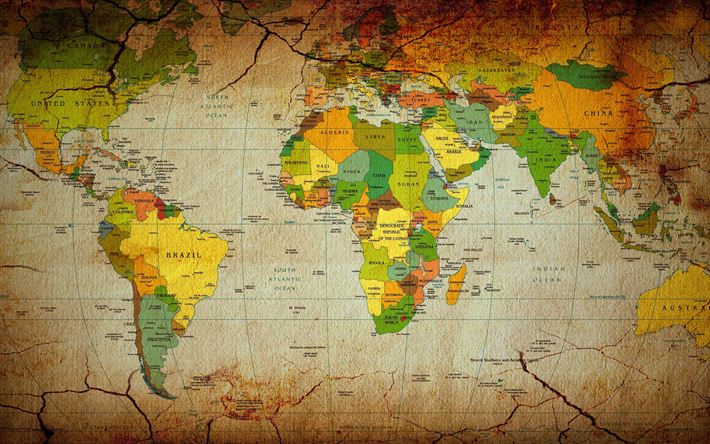 Download Wallpapers World Map Retro Style Political Map Of The World Earth Continent Map Geography Besthqwallpapers Com Dunya Haritalari Retro Tarzi Harita