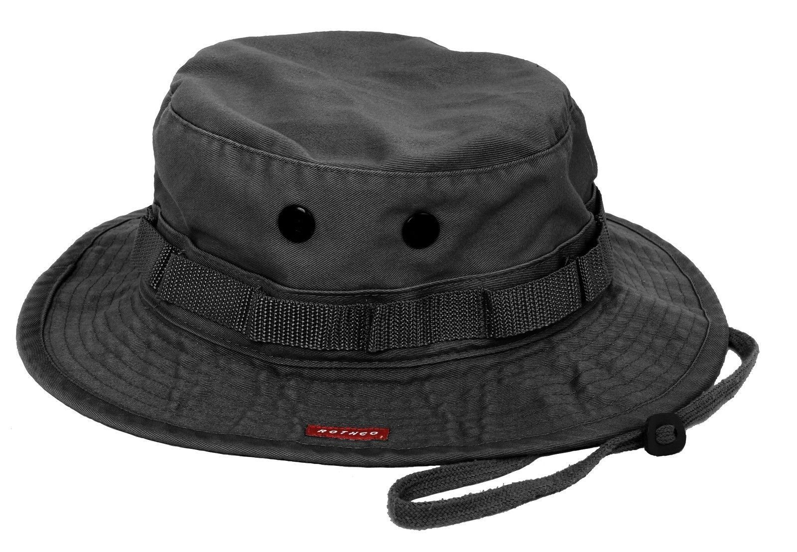 193cb0e8f9ab Military Boonie Hat - Vintage Black Breathable Camping, Fishing, Bucket Hat