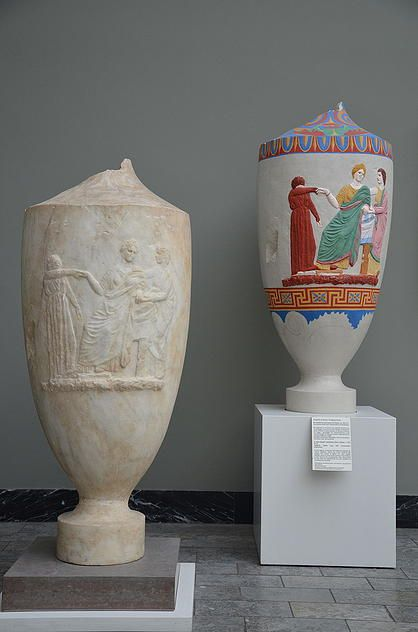 Not only the statues and the building of Antiquity were colored in bright colors but also the funerary items.  Vase-shaped tombstone from Athens, c. 330 BC