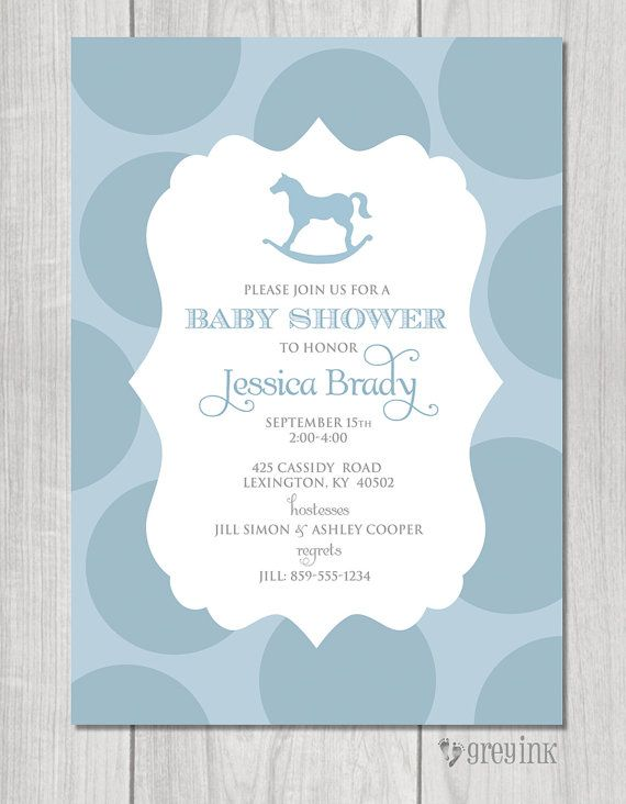 Rocking Horse Baby Shower Invitation Digital File By Greyink 1500