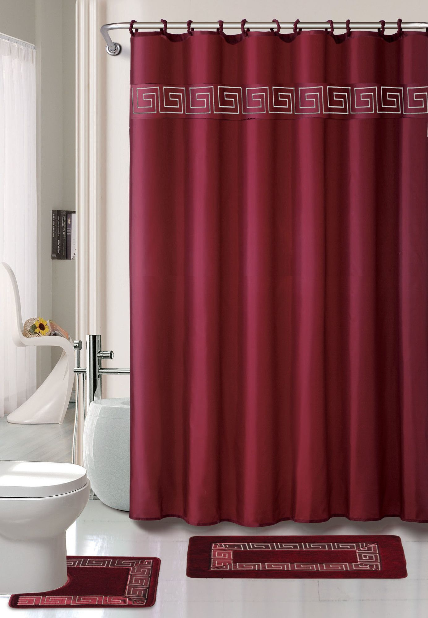 Greek Key 15 Pice Shower Curtain Set Burgundy Bathroom Red