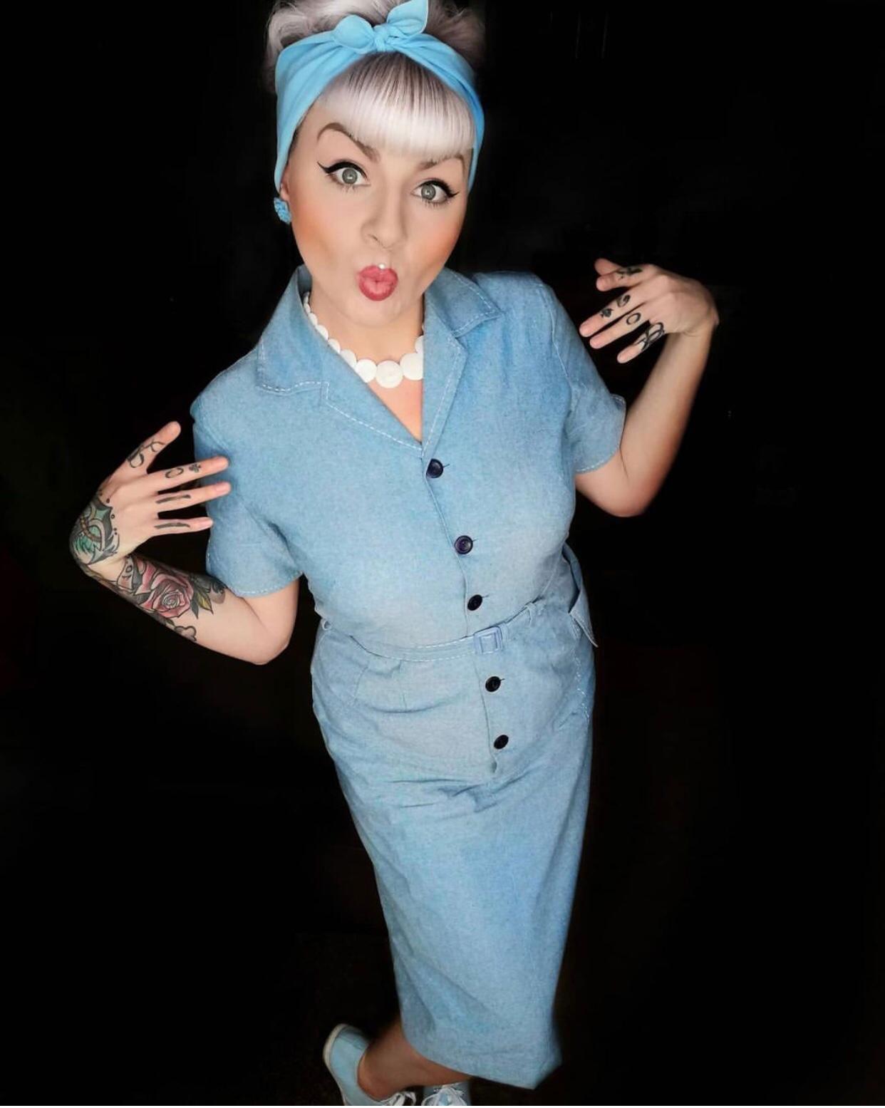 **Sample Sale** The Josie Dress in Lightweight Denim Blue Cotton Chambray, True & Authentic 1950s Vintage Style - 14