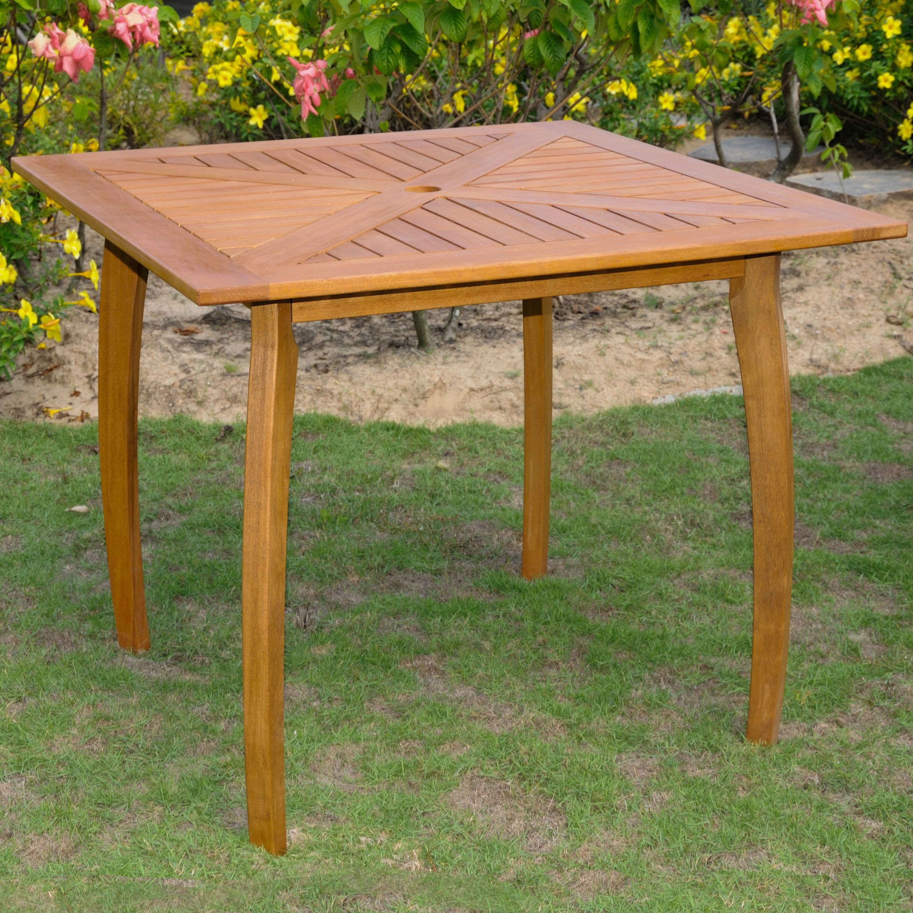 International Caravan Royal Tahiti Yellow Balau Wood 36 Inch Square Table  By International Caravan
