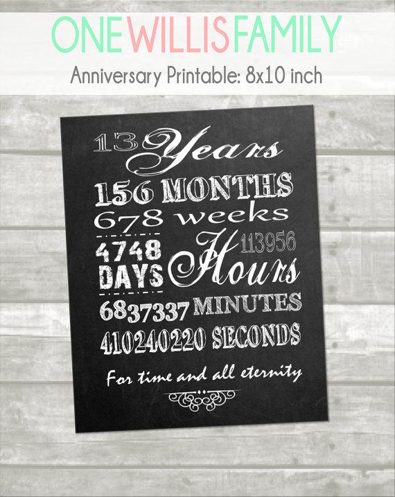 Instant Download Chalkboard Anniversary Printable Thirteenth