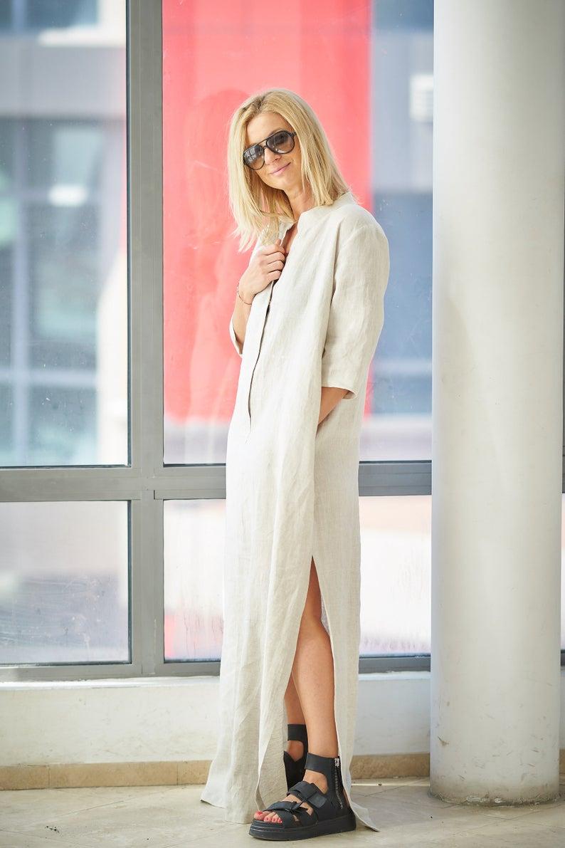 Linen Kaftan Dress Linen Dress Kaftan For Women Women Etsy Linen Maxi Dress Linen Beach Dress Kaftan Dress [ 1191 x 794 Pixel ]