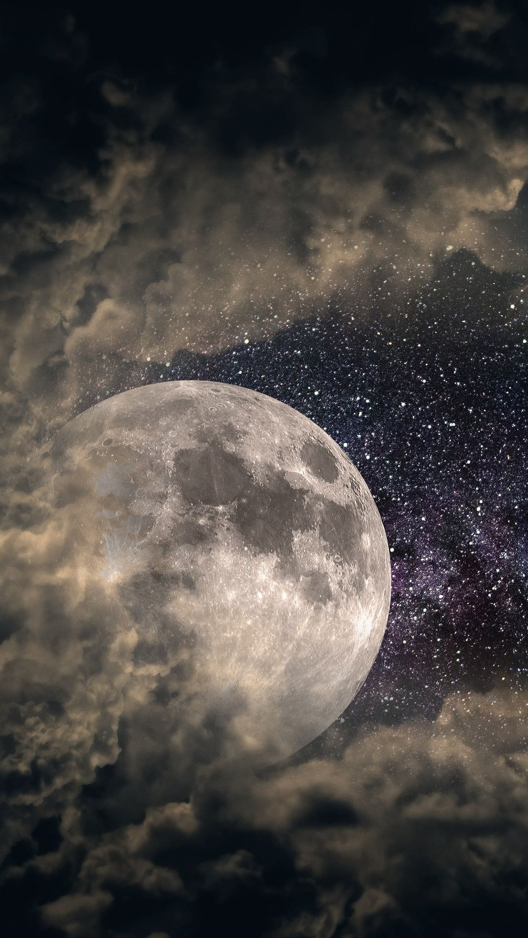 Clouds Moon Universe Stars 5k In 1080x1920 Resolution Nature Wallpaper Clouds Moon