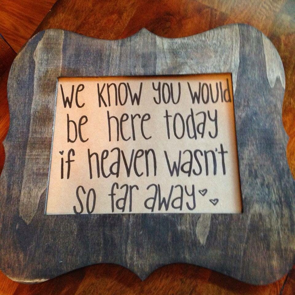 We Know You Would Be Here If Heaven Wasn't Do Far Away