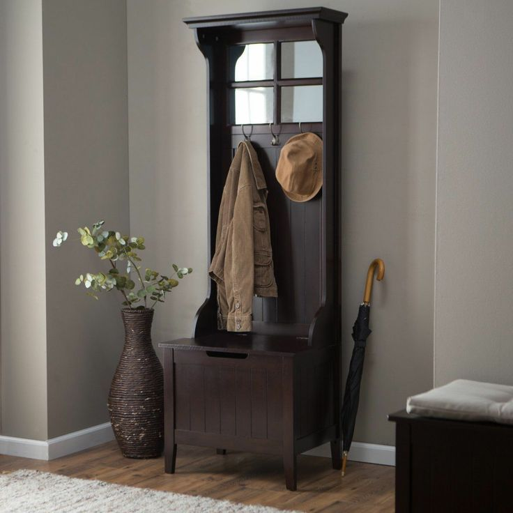 1850u0027s Coat Racks And Hall Stands | Brown Entryway Mini Hall Tree Coat Rack  Stand Home
