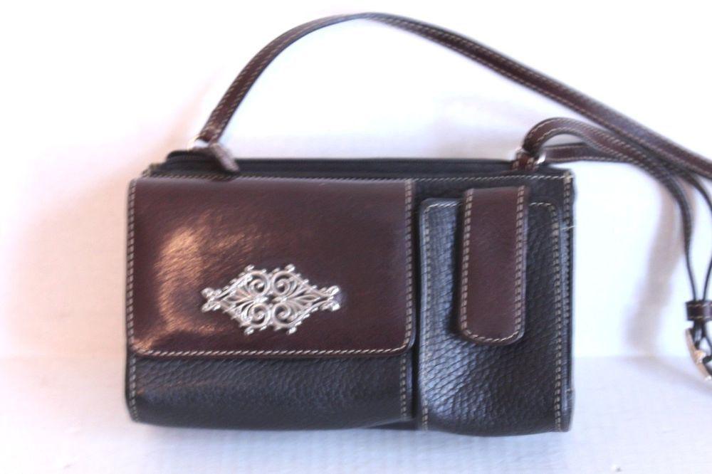 c9726e50fad BRIGHTON Brown Black Leather Crossbody Bag Purse Organizer Apx 8 x 4 ...