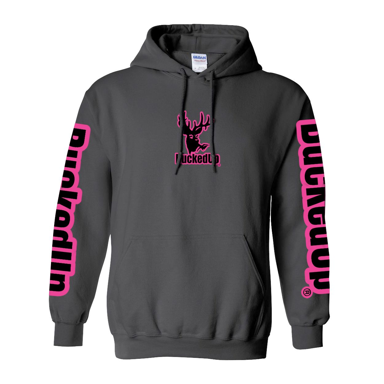Pullover Hoodie Charcoal Grey with Pink Logo (With