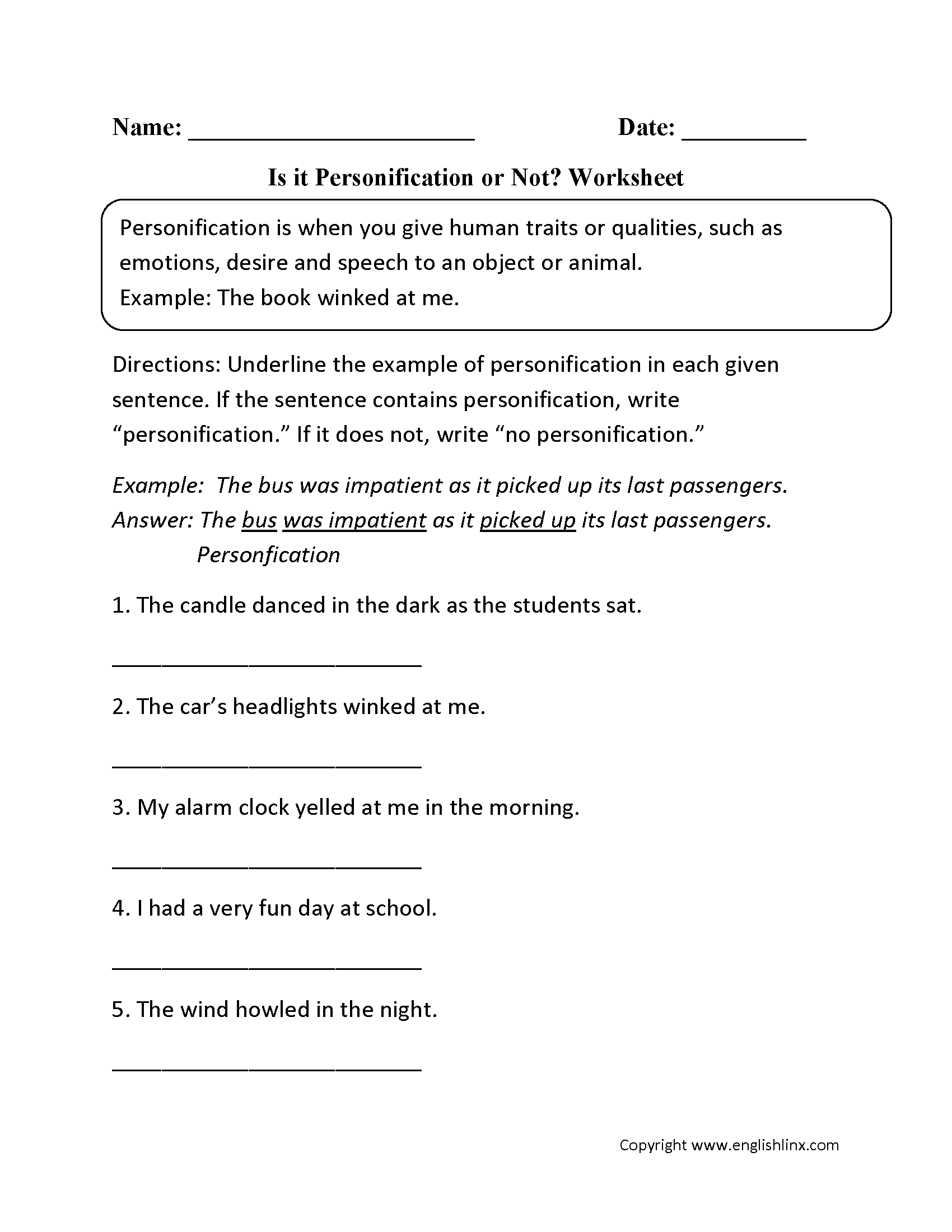 Is It Personification Or Not Worksheet