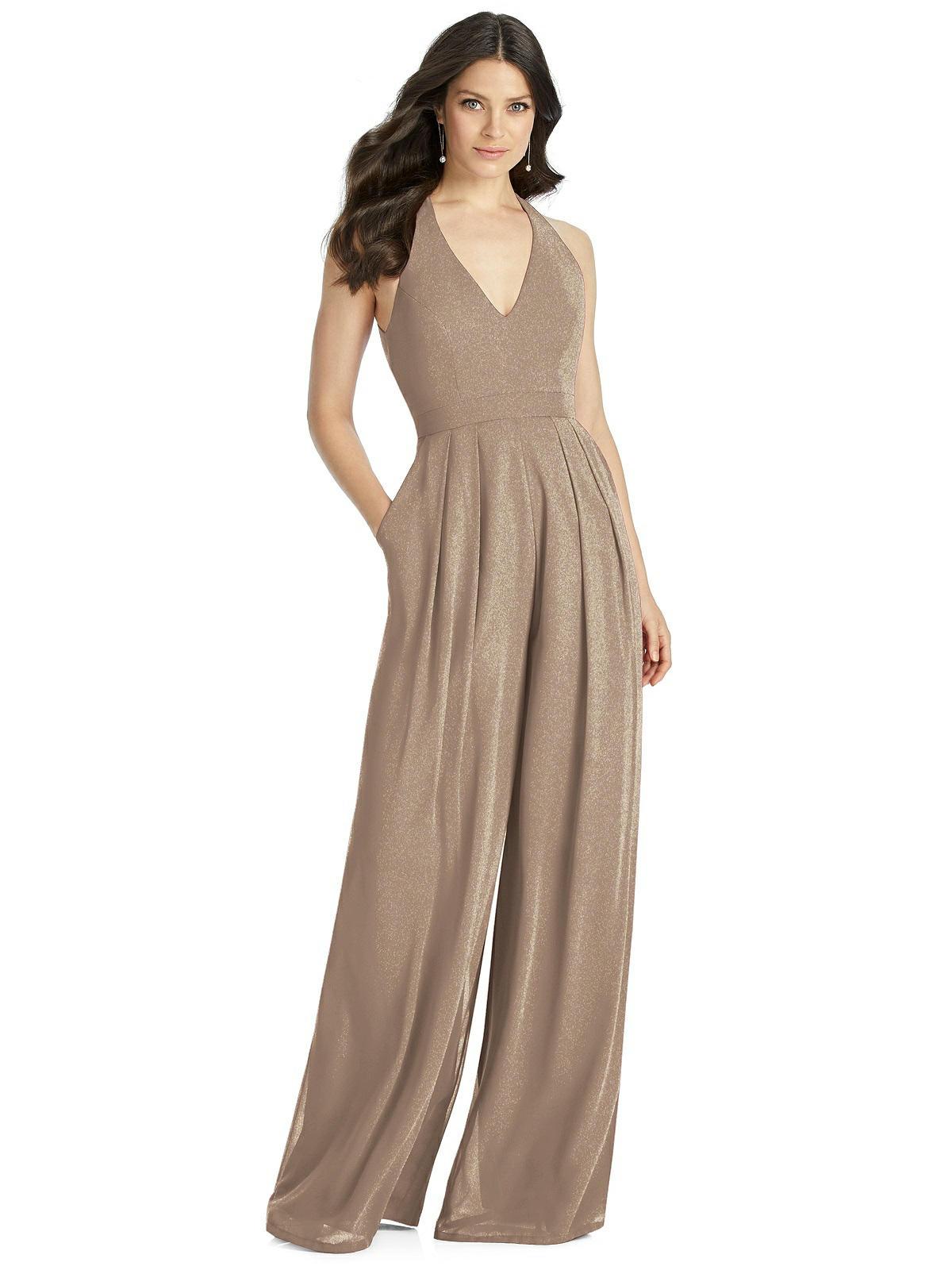 Dessy Shimmer Bridesmaid Jumpsuit Arielle LS #bridesmaidjumpsuits
