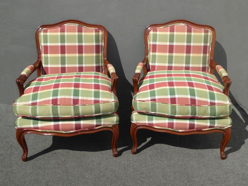 Pleasant Pair Vintage French Country Red Plaid Down Accent Chairs Gmtry Best Dining Table And Chair Ideas Images Gmtryco