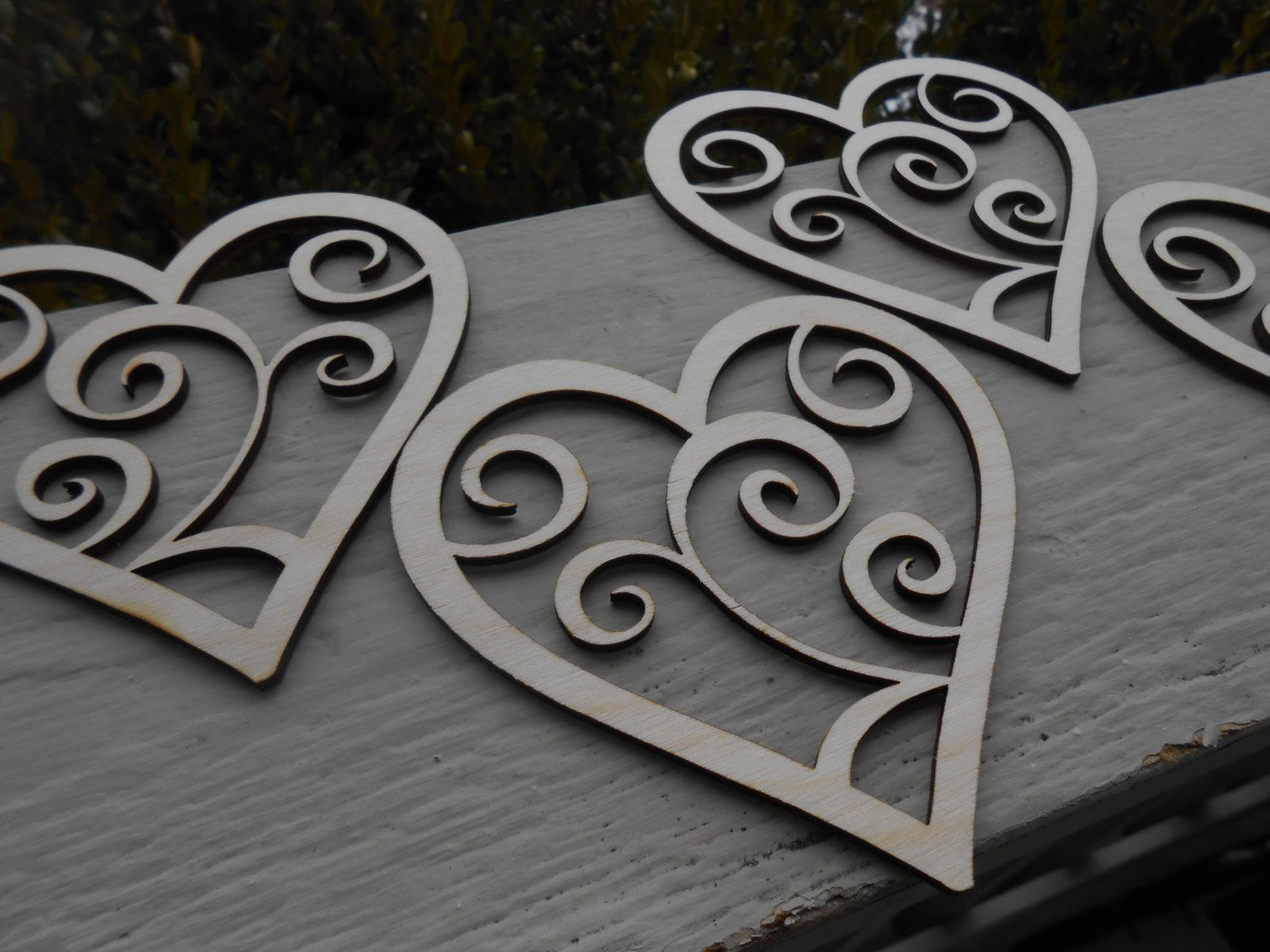Wood Swirly Hearts, Set of 4. Laser Cut. Wedding, Event, Valentine Decoration, Gift. by TreeTownPaper on Etsy