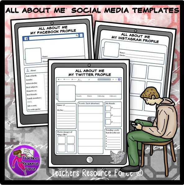 Beginning of the year all about me social media templates for - profile templates