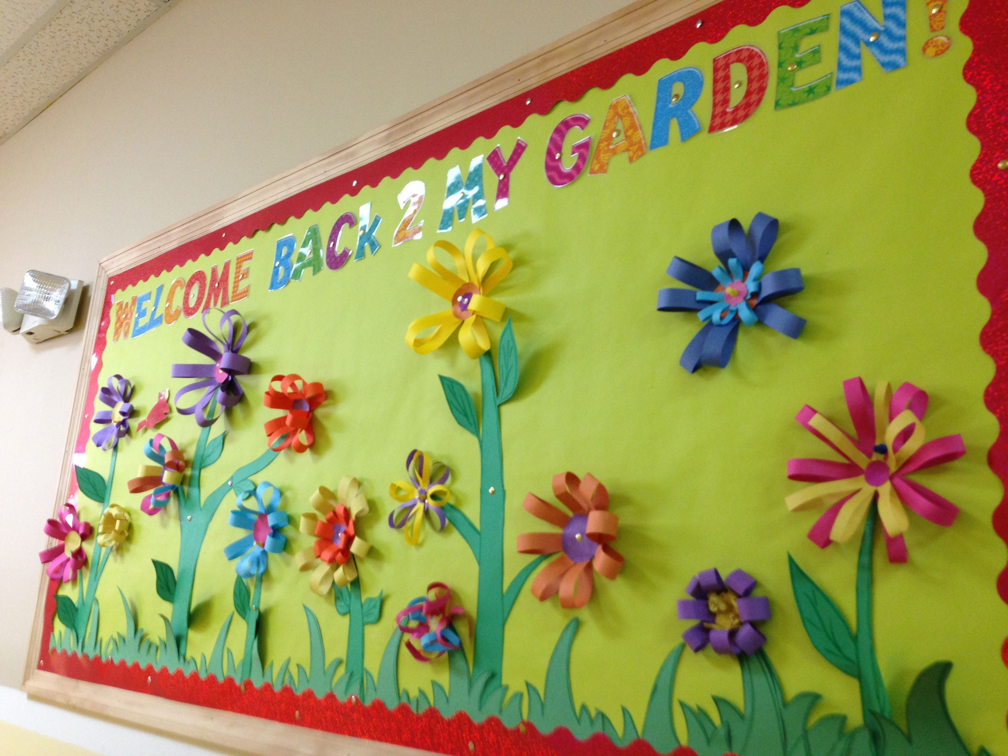 My welcome back 2 my garden bulletin board my classroom for Garden design ideas cork